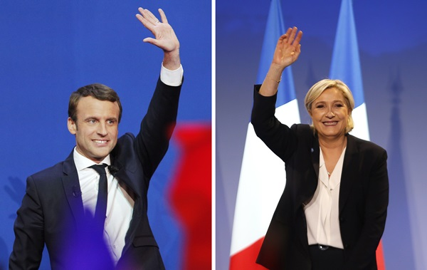 In this photo combination, French centrist presidential candidate Emmanuel Macron waves before he addresses his supporters at his election day headquarters in Paris, Sunday April 23, 2017, left, and far-right candidate for the presidential election Marine Le Pen waves at supporters after she delivers a speech during a meeting in Bordeaux, southwestern France, Sunday, April 2, 2017, right. (AP Photo/ Christophe Ena/ Bob Edme=newsis)