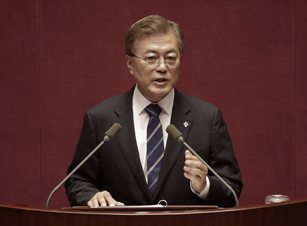 South Korean President Moon Jae-in delivers a speech at the National Assembly in Seoul, South Korea, Monday, June 12, 2017. Moon appealed on Monday to the parliament for approval of the supplementary budget for job creation, stressing the seriousness and importance of the nation's unemployment issue. (AP Photo/Ahn Young-joon, Pool=newsia)