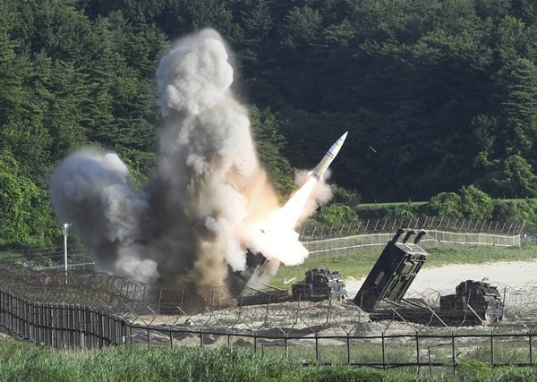 "In this photo provided by South Korea Defense Ministry, a U.S. MGM-140 Army Tactical Missile is fired during the combined military exercise between the U.S. and South Korea against North Korea at an undisclosed location in South Korea, Wednesday, July 5, 2017. North Korean leader Kim Jong Un vowed Wednesday his nation will ""demonstrate its mettle to the U.S."" and never put its weapons programs up for negotiations, a day after test-launching its first intercontinental ballistic missile. (South Korea Defense Ministry via AP=newsis)"
